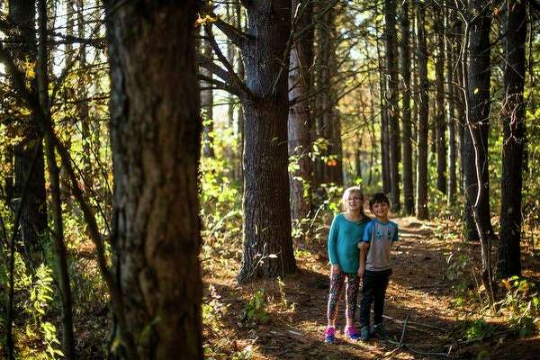 Maddie Forshee, 8, left, and her brother Parker Forshee, 5, pose together for a photo on a trail in the woods at their grandparents' house on Wednesday. Their grandmother, Deb Forshee, sets up a Haunted Forest every Halloween season. (Katy Kildee/kkildee@mdn.net)