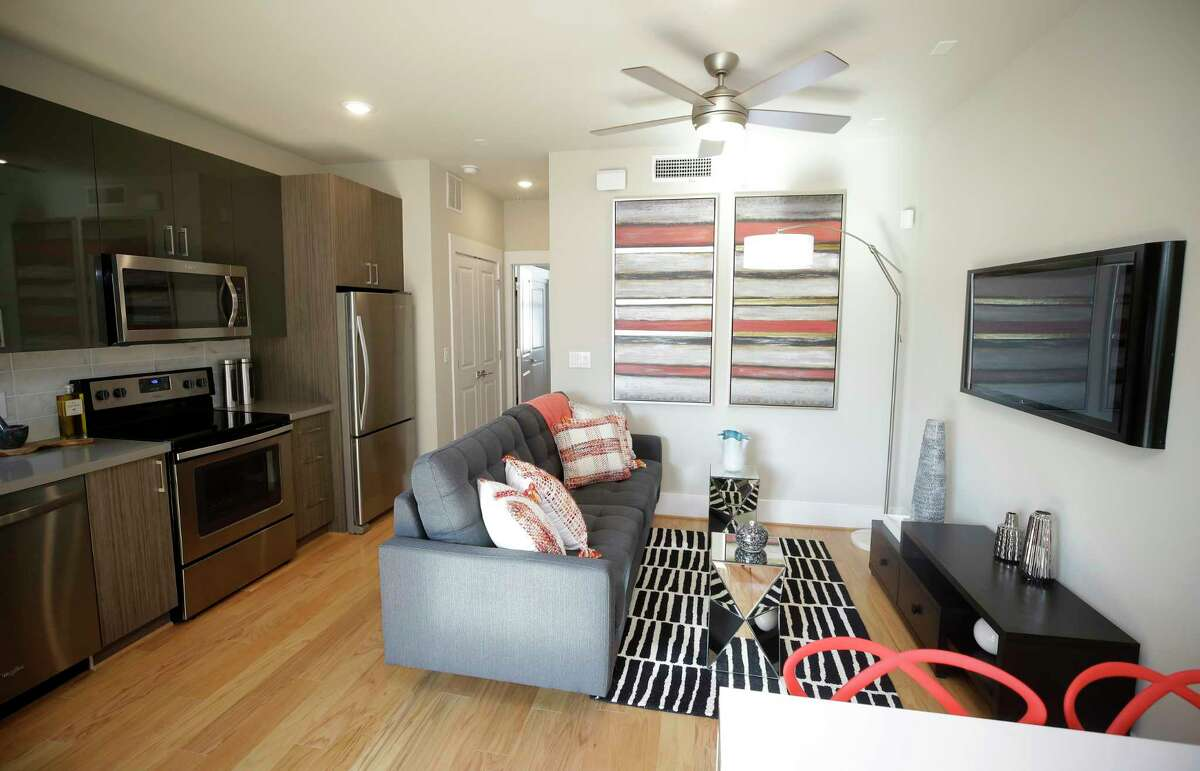 A micro-condo is shown Parc at Midtown, 2401 Crawford Street, Thursday, Oct. 12, 2017, in Houston. ( Melissa Phillip / Houston Chronicle )