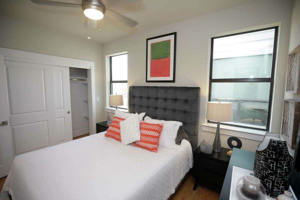 The bedroom in a micro-condo is shown Parc at Midtown, 2401 Crawford Street, Thursday, Oct. 12, 2017, in Houston. ( Melissa Phillip / Houston Chronicle )