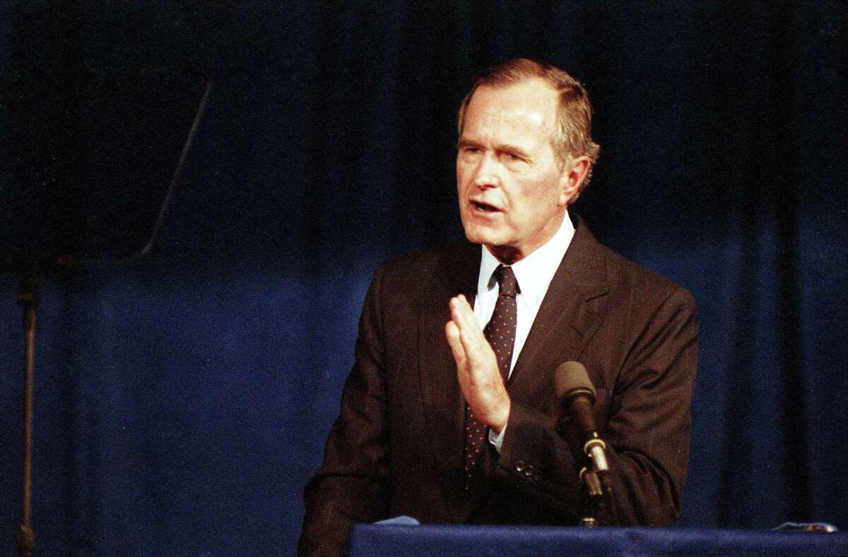 Vice President George H.W. Bush announces his candidacy for president at the Hyatt Regency in Houston, Texas, Oct. 12, 1987.