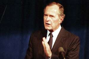 Vice President George H.W. Bush announces his candidacy for president at the Hyatt Regency, Oct. 12, 1987.