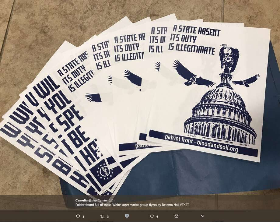 """@shesCamie: """"Folder found full of these white supremacist group flyers by Retama Hall #TXST"""" Photo: Twitter/@shesCamie"""