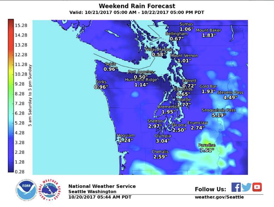 A storm coming into the region this weekend is expected to bring up to 2 inches of rain around Seattle, with more elsewhere, possibly triggering flooding in some areas. Photo: National Weather Service