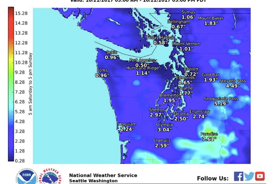 A storm coming into the region this weekend is expected to bring up to 2 inches of rain around Seattle, with more elsewhere, possibly triggering flooding in some areas.