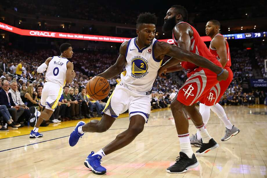 OAKLAND, CA - OCTOBER 17:  Jordan Bell #2 of the Golden State Warriors drives to the hoop against James Harden #13 of the Houston Rockets during their NBA game at ORACLE Arena on October 17, 2017 in Oakland, California. NOTE TO USER: User expressly acknowledges and agrees that, by downloading and or using this photograph, User is consenting to the terms and conditions of the Getty Images License Agreement.  (Photo by Ezra Shaw/Getty Images) Photo: Ezra Shaw, Getty Images