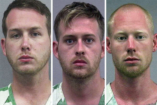 William Fears, Colton Fears, Tyler Tenbrink, all of Texas, arrested Thursday night, Oct. 19, 2017, in Gainesville, Fla., after allegedly firing a shot at a group at a bus stop following an appearance by white nationalist Richard Spencer at the University of Florida.