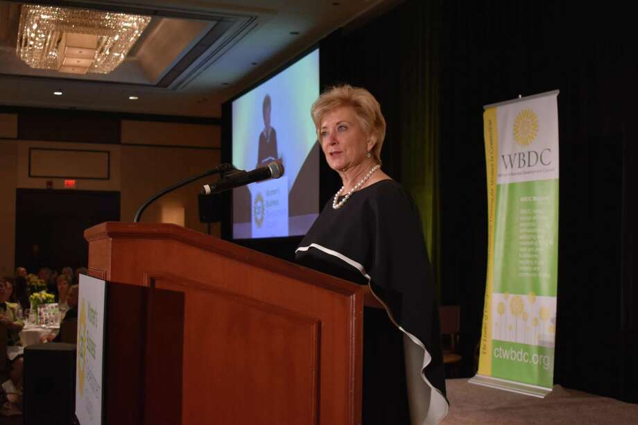 Linda McMahon, administrator of the Small Business Administration, speaks Friday, Oct. 20, 2017, at the 20th anniversary luncheon of the Women's Business Development Council, in Greenwich, Conn. Photo: Alexander Soule / Hearst Connecticut Media / Stamford Advocate