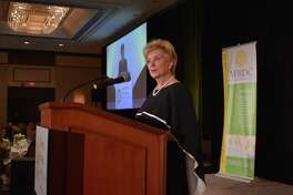 Linda McMahon, administrator of the Small Business Administration, speaks Friday, Oct. 20, 2017, at the 20th anniversary luncheon of the Women's Business Development Council, in Greenwich, Conn.