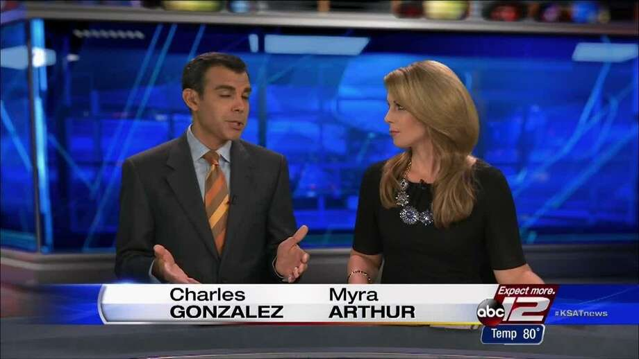 KSAT-TV staple Charles Gonzalez shares the Sunday broadcast with Myra Arthur, the latest in a string of weekend co-anchors during his tenure at the ABC affiliate. Photo: Courtesy Of KSAT