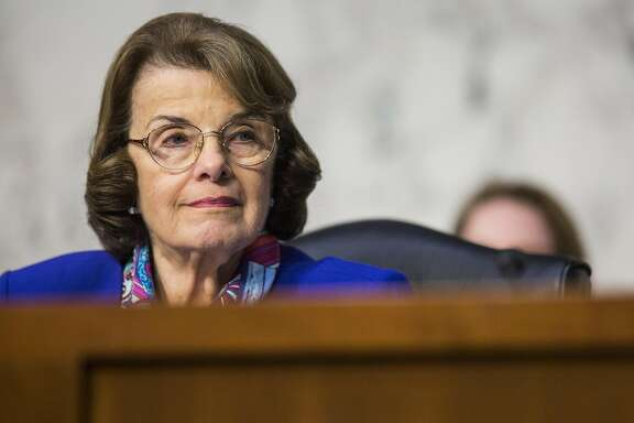 Senator Dianne Feinstein, a Democrat from California and ranking member of the Senate Judiciary Committee, listens during a hearing with Jeff Sessions, U.S. attorney general, not pictured, in Washington, D.C., U.S., on Wednesday, Oct. 18, 2017. Sessions�told senators he won't answer questions about his conversations with President�Donald Trump�over the firing of FBI Director�James Comey. Photographer: Zach Gibson/Bloomberg