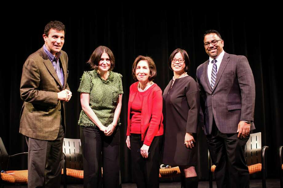 (L to R)  Next for Autism panelists New Yorker editor David Remnick, film producer Alexandra Shiva, author Liane Kupferberg Carter, board member Christine Lai and Vice President of Program Development Jerry Philip. Photo: Contributed / © Josh Wong Photography