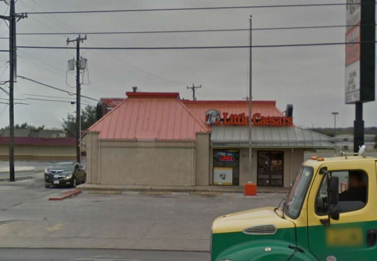 Little Caesar's Pizza #9: 1603 Bandera Road, San Antonio, TX 78228  Date: 04/12/2018 Score: 81  Highlights: Inspector observed jalapenos in handwashing sink (handwashing sink must be accessible at all times - not used to dump food items); dead roaches observed near handwashing sink; food handlers must wear hair restraints; no Certified Food manager present at time of inspection; leak at pipe underneath handwashing sink in kitchen observed; bulk foods must be properly labeled (cornmeal); a couple of employees seen washing hands with cold, not hot, water; sanitizer buckets not at correct concentration