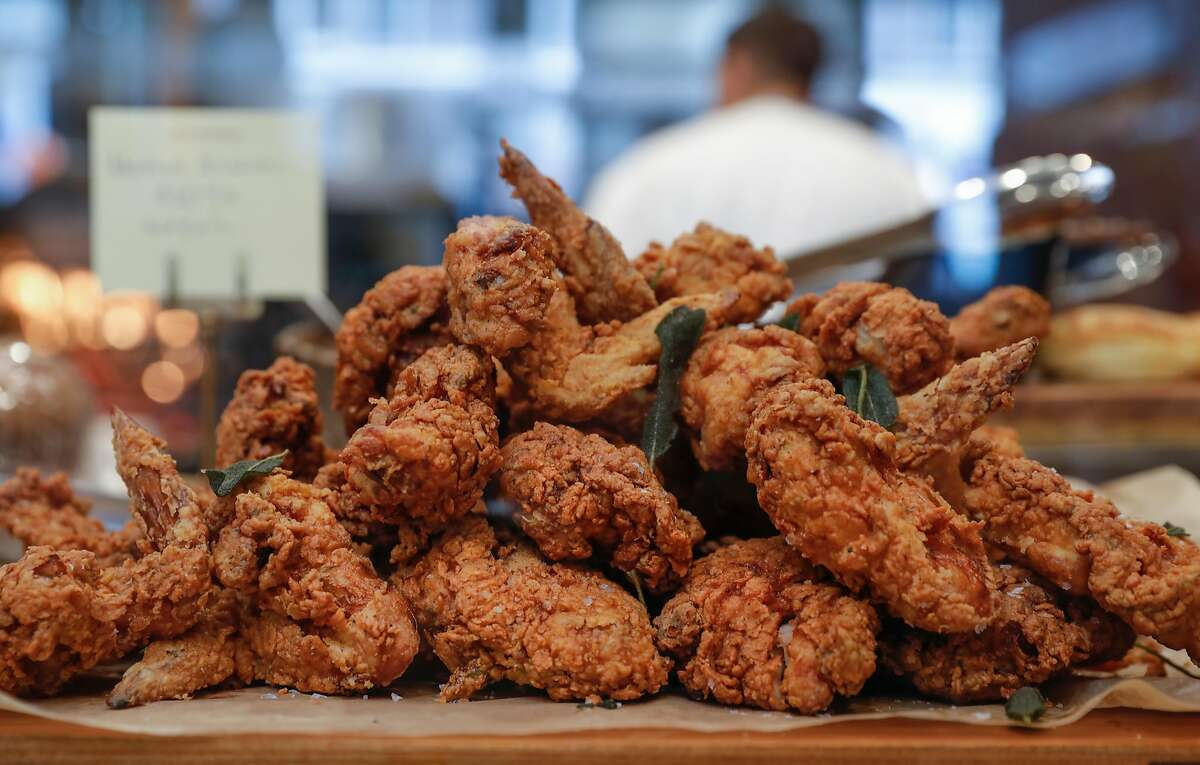 Fried chicken is one of the fresh made offerings at Meraki Market on Thursday, Oct. 19, 2017 in San Francisco, Calif.
