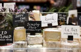 Some of the cheese offered at Meraki Market are seen on Thursday, Oct. 19, 2017 in San Francisco, Calif.