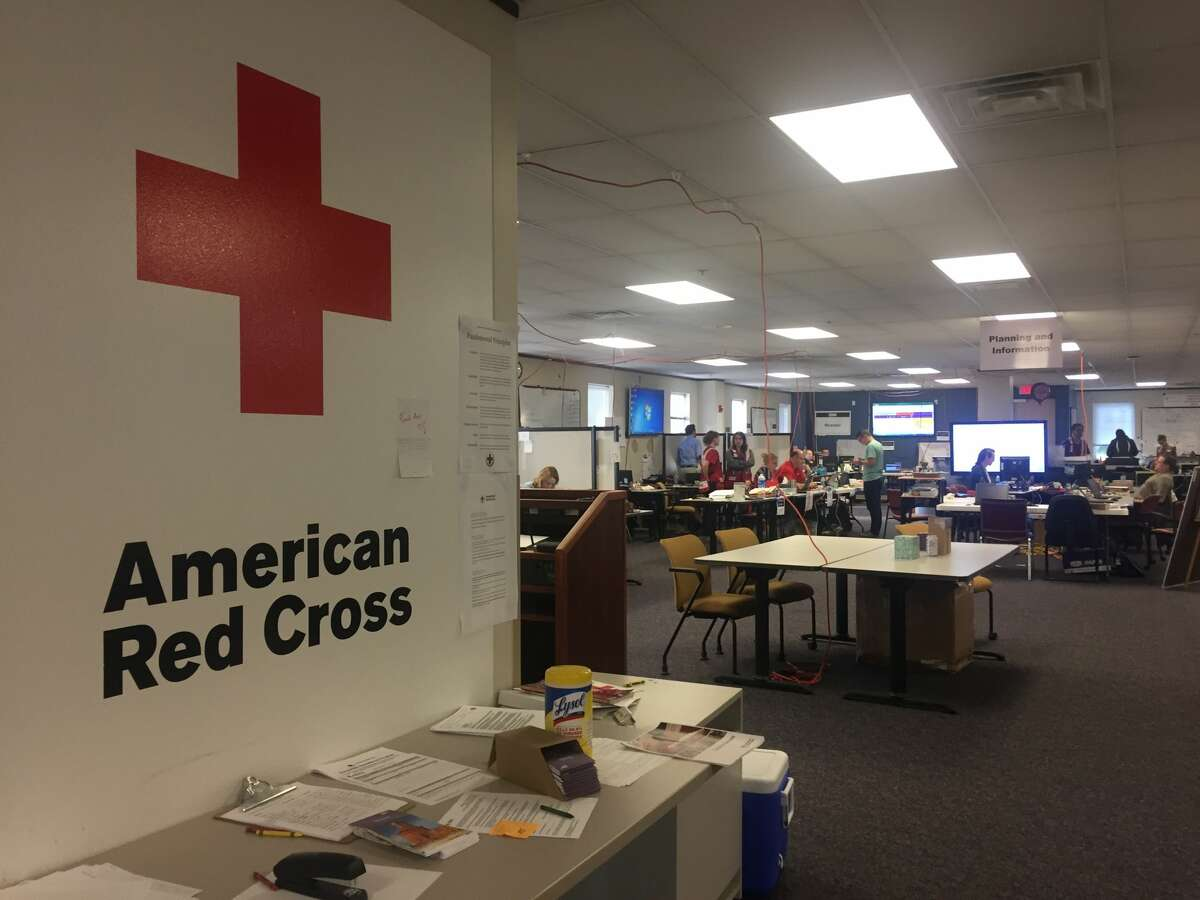 Volunteers flew in from around the country to work at the American Red Cross's Harvey response headquarters in Houston.