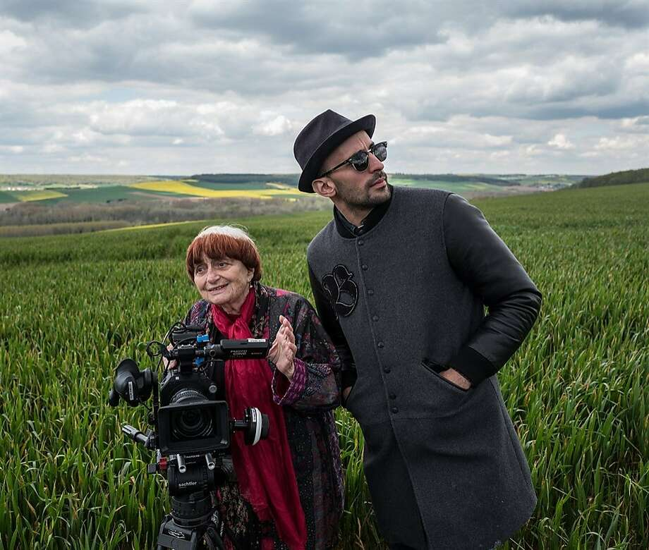 """Film director Agnes Varda and photographer and muralist JR in the documentary """"Faces Places."""" Photo: Cohen Media Group"""