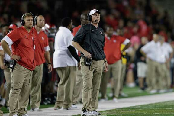 Houston Cougars head coach Major Applewhite reacts to a replay review in the fourth quarter during the NCAA football game between the Memphis Tigers and the Houston Cougars at TDECU Stadium in Houston, TX on Thursday, October 19, 2017.