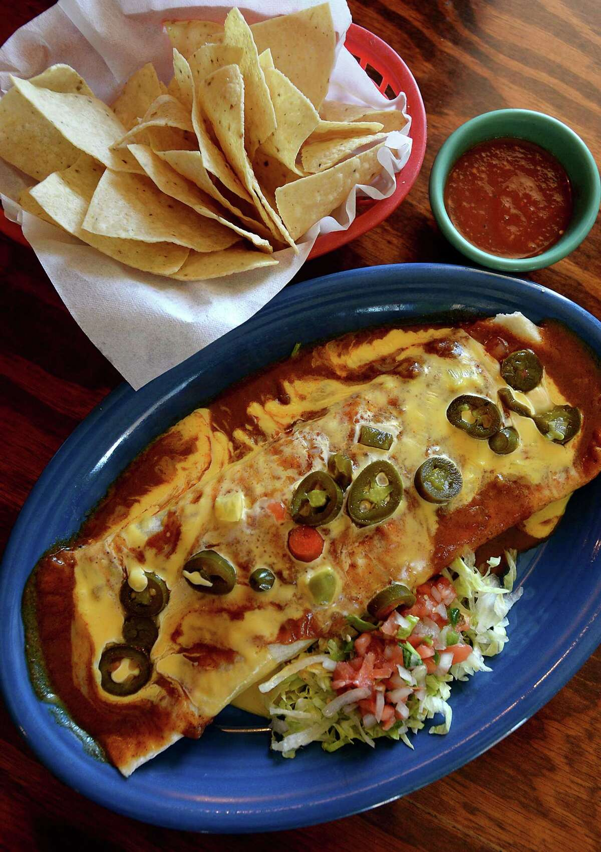 The Burrito Chapala is among the featured dishes at Rafael's Mexican Restaurant in Lumberton. Photo taken Wednesday, October 18, 2017 Kim Brent/The Enterprise