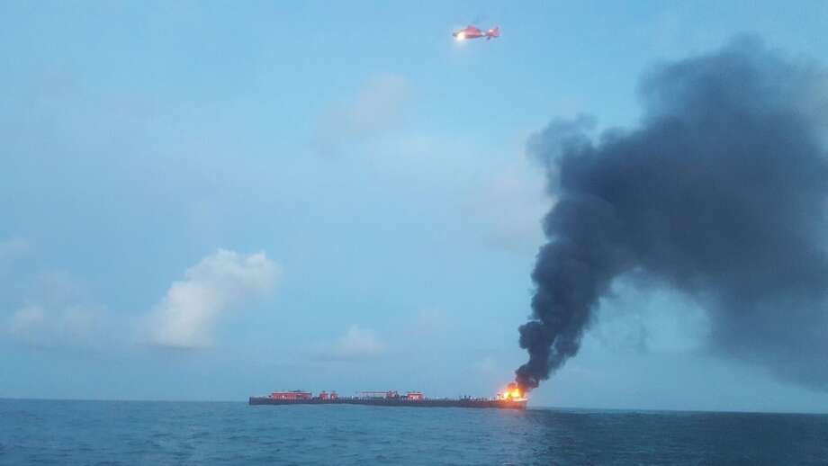 Coast Guard crews and local agencies responded to a barge fire off the coast of Port Aransas on Oct. 20, 2017. Photo: Contributed Photo