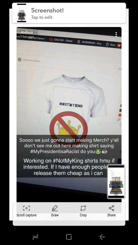 "A screenshot taken of the ""#NotMyKing"" T-shirt shows the summary goal of the sit was for ""the protest of the bwood hoco king,"" which has now been altered to read ""top protest the king."" Photo: ----"