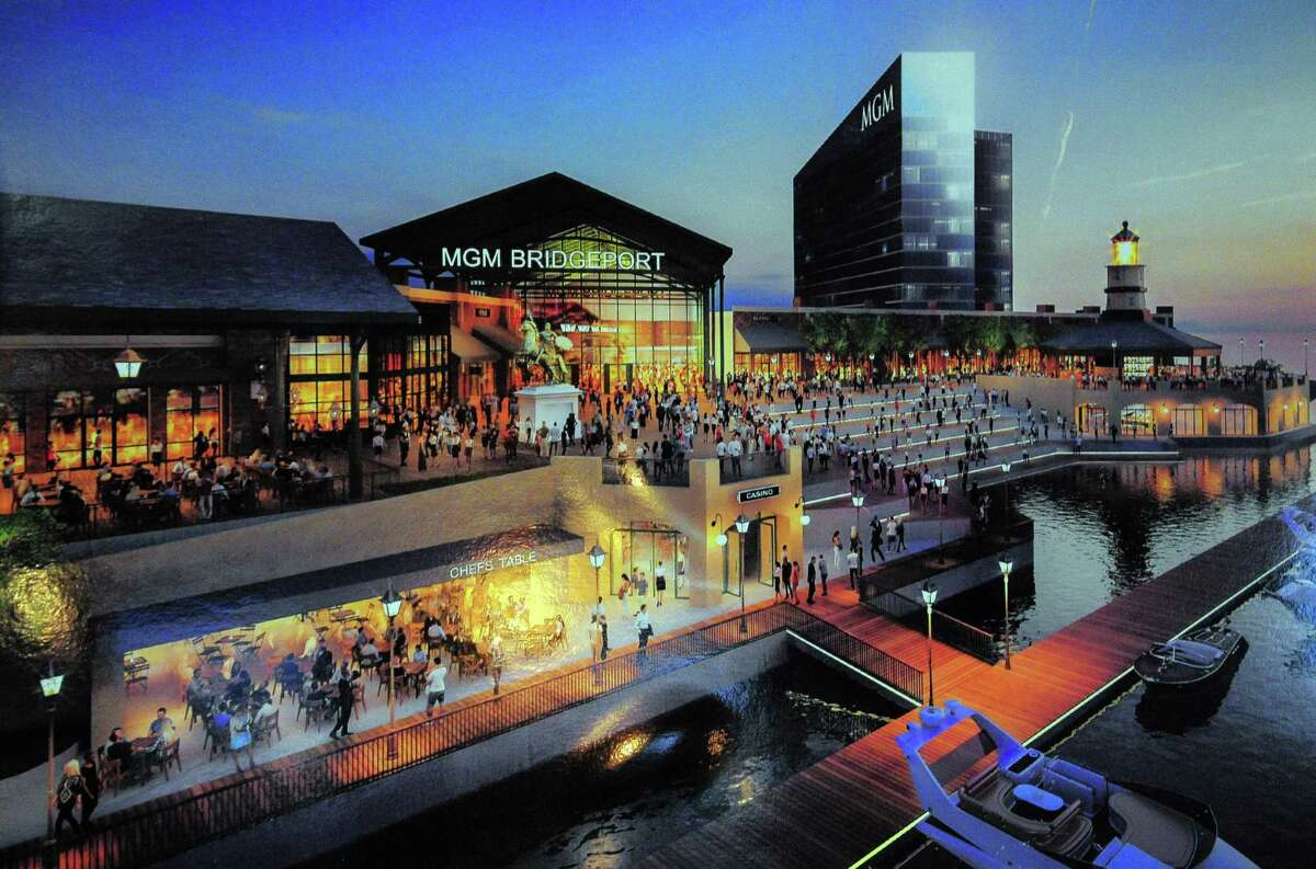 A photo of a proposed MGM casino is on display as the community group East End NRZ meets with executives from MGM about the latter's planned casino in Bridgeport, Conn., on Wednesday Oct. 18, 2017.