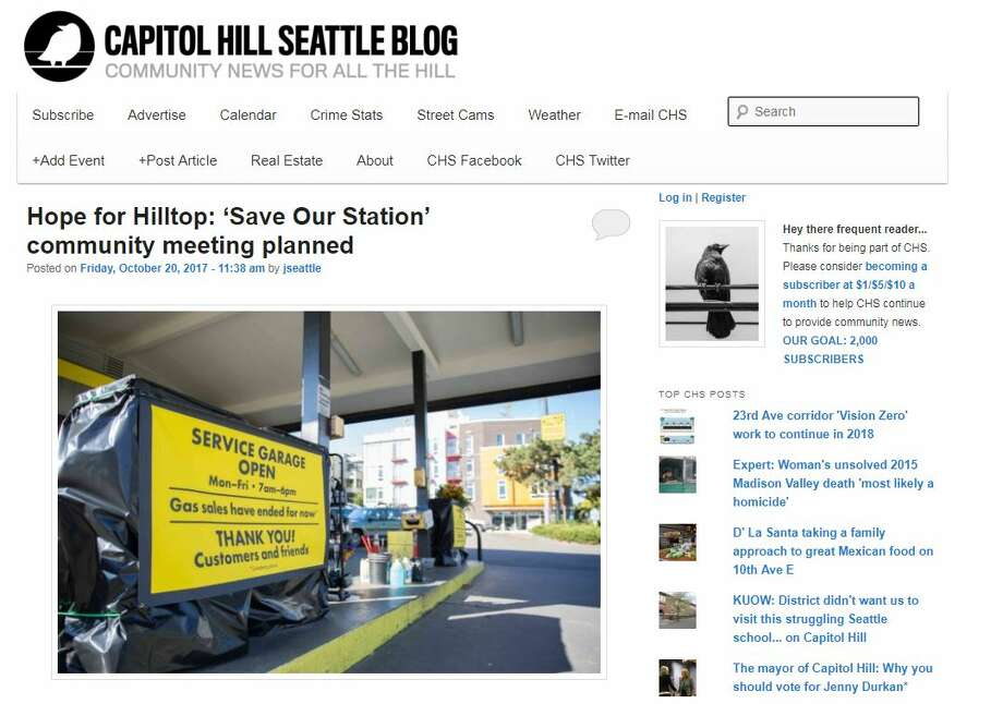 The homepage of Capitol Hill Seattle on Friday, Oct. 20, 2017. Photo: Screenshot/CapitolHillSeattle.com