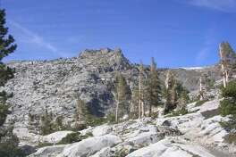 The PCT, bottom right, in Desolation Wilderness.