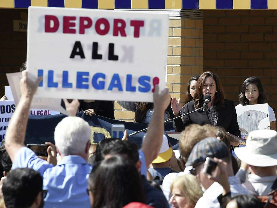 Pro-Trump supporters interrupt Sen. Kamala Harris, D-Calif., at the University of California, Irvine this month. Forty percent of the Republican primary voters who gave the nomination to Donald Trump were anti-immigrant. Photo: Kevork Djansezian /Getty Images / 2017 Getty Images