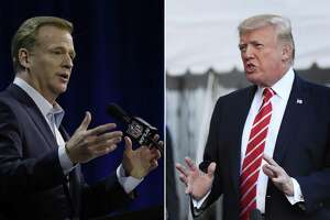 NFL Commissioner Roger Goodell (left) signaled a retreat on NFL protests during the national anthem, saying the league believes everyone should stand during it. This came after President Donald Trump suggested players be fired for kneeling. A lesson for Democrats that Trump wins any culture war he starts?
