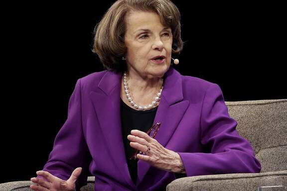 FILE - In this Aug. 29, 2017, file photo, United States Sen. Dianne Feinstein, D-Calif., speaks at the Commonwealth Club in San Francisco. op Republicans are already coping with a razor-thin majority as they try pushing a contentious and partisan agenda through the Senate. Now, they�re running smack into another complicating factor _ the sheer age and health issues of some senators. (AP Photo/Jeff Chiu, File)
