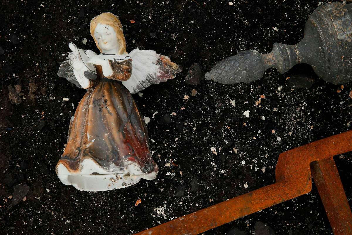 The Geissinger's ornaments are seen in the rubble of their home in the Coffey Park neighborhood on Friday, Oct. 20, 2017, in Santa Rosa, Calif. Residents of the neighborhood were let back in for the first time since the Sonoma County fires to sift through what�s left.