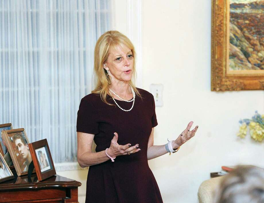 Karen Greenberg, the director of the Center on National Security at Fordham University School of Law, spoke during the Fiorentino Group's Women in  Leadership series at a private residence in the Riverside section of Greenwich, Conn., Thursday night, Oct. 19, 2017. Photo: Bob Luckey Jr. / Hearst Connecticut Media / Greenwich Time