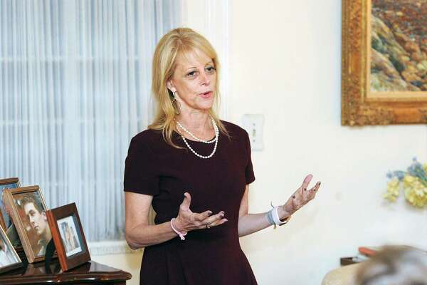 Karen Greenberg, the director of the Center on National Security at Fordham University School of Law, spoke during the Fiorentino Group's Women in  Leadership series at a private residence in the Riverside section of Greenwich, Conn., Thursday night, Oct. 19, 2017.