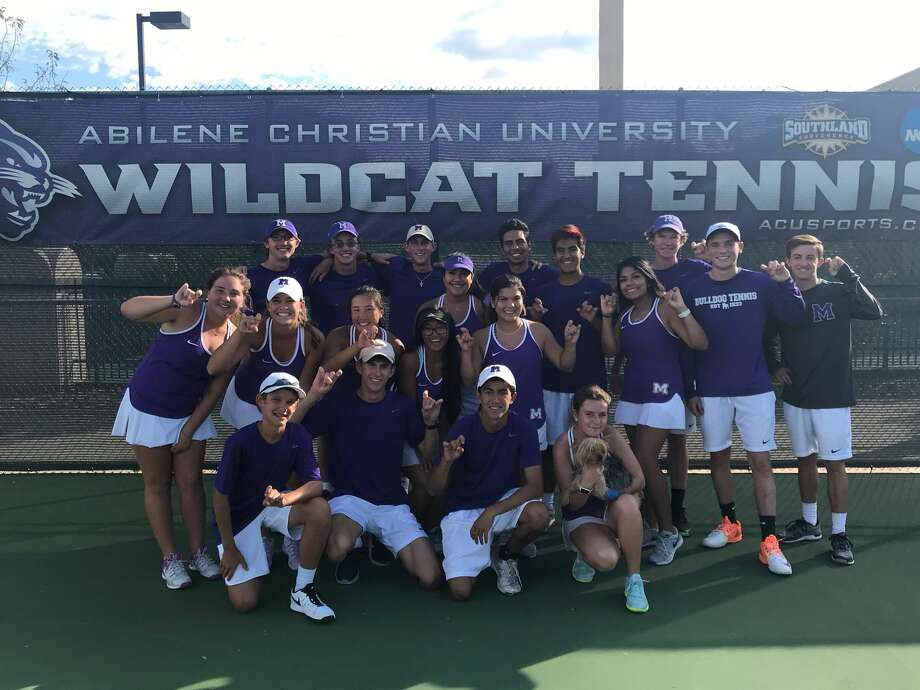The Midland High tennis team celebrates after their Class 6A area round win over Keller at Abilene Christian University on Friday. Courtesy photo Photo: Courtesy Photo