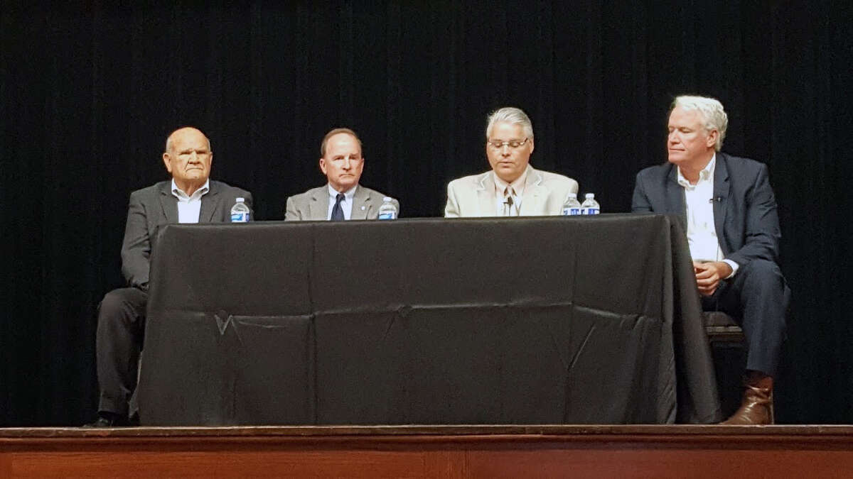 City of Humble mayor Merle Aaron, city of Houston council member Dave Martin, District 127state representative Dan Huberty, andcommittee chairman of the Texas House Natural Resources Committee Lyle Larson host a meeting about flood mitigation at Bender Performing Arts Center in Humble on Friday, Oct. 20.