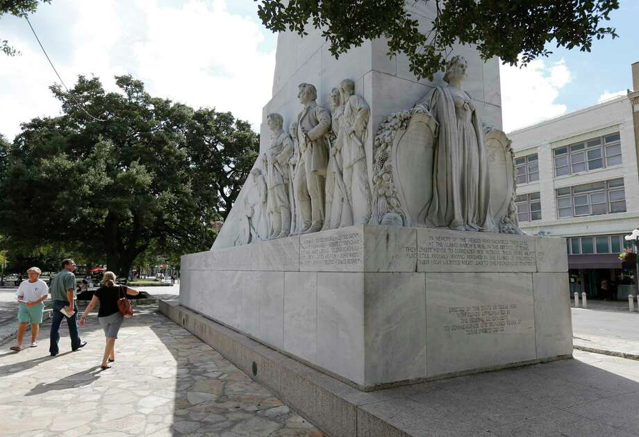 The Cenotaph is still under consideration for relocation with several sites in mind according to General Land Office spokesman Bryan Preston. The new battle of the Alamo is being fought on the airwaves and via social media, with websites and resolutions, through protests and news conferences. Photo: Kin Man Hui /San Antonio Express-News / ©2017 San Antonio Express-News