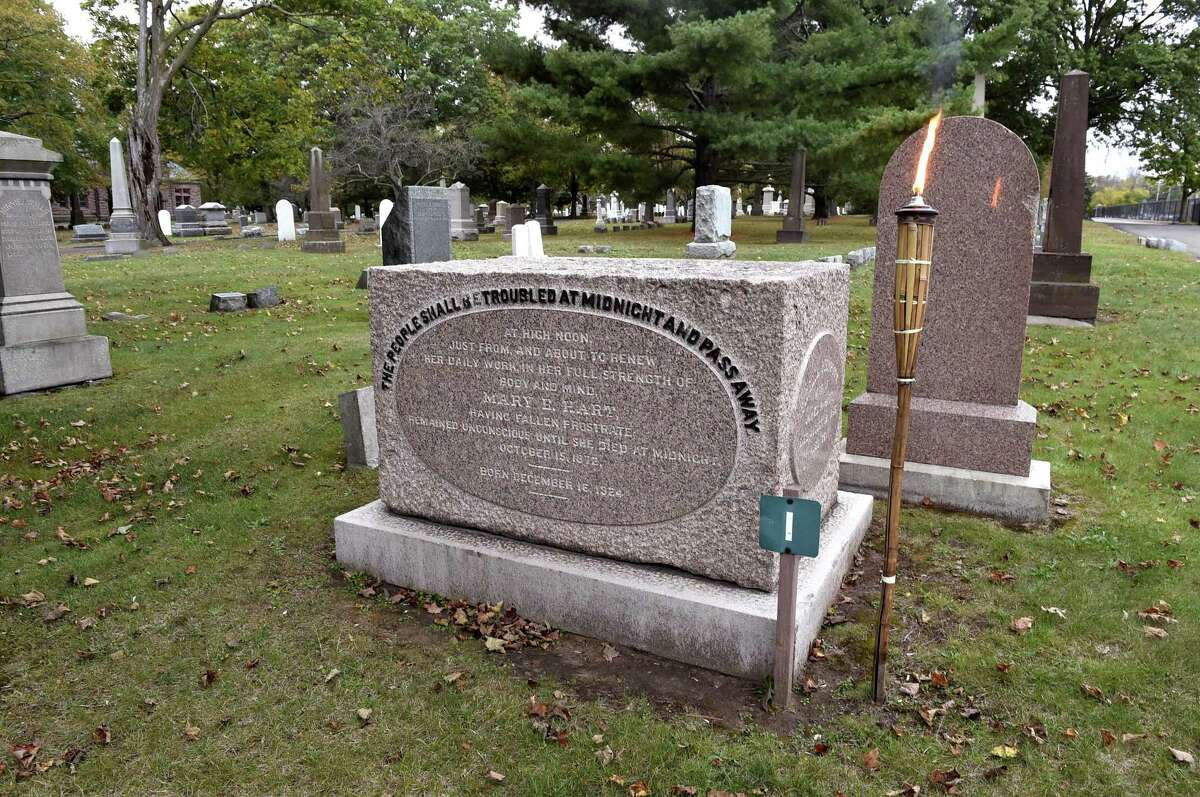 The grave of Mary E. Hart, also known as Midnight Mary, at the Evergreen Cemetery in New Haven.