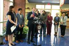 """Sen. Richard Blumenthal speaks in New Haven aboutlegislation that would address deporting undocumented immigrants from """"sensitive locaitons."""