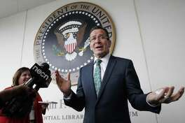 Connecticut Gov. Dannel P. Malloy spoke with reporters after receiving the John F. Kennedy Profile in Courage Award at the John F. Kennedy Presidential Library in Boston on May 1, 2016. Malloy warned on Friday that President Donald Trump is ignoring constitutional protections for the LGBT and Muslim communities.