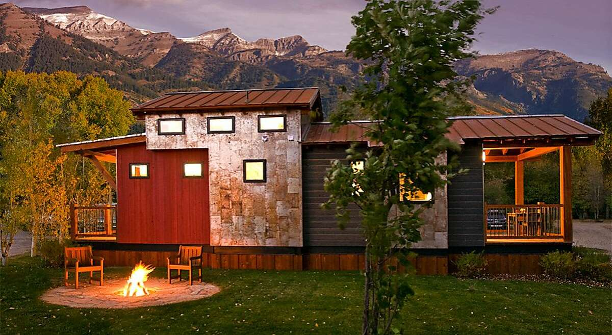 Parties of up to six can stay in the Caboose cabins at Fireside Resort in Jackson Hole, Wyo., where all units have private decks and fire pits.