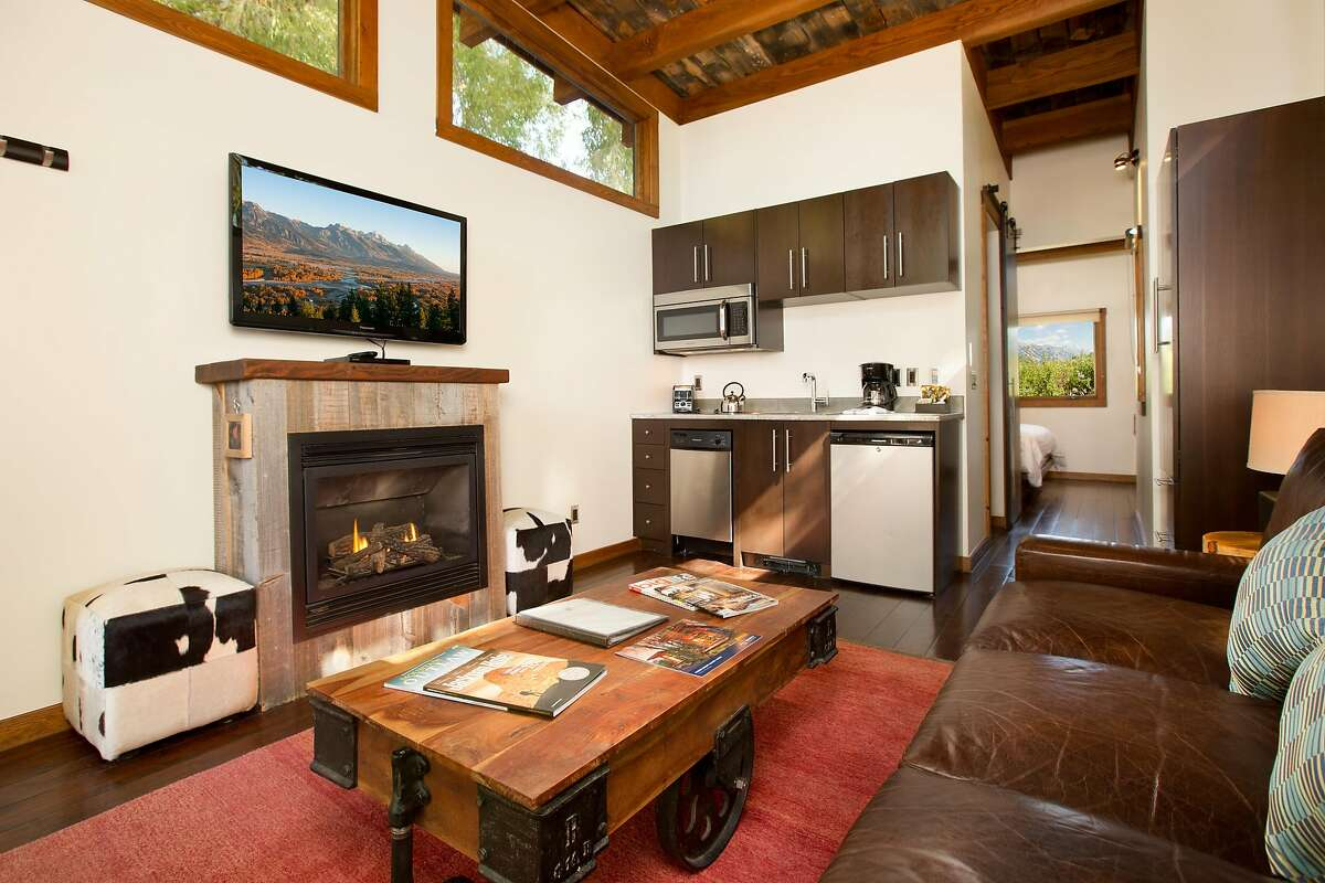 All 25 cabins at Fireside Resort in Jackson Hole, Wyo., feature fireplaces, flat-screen TVs and kitchens.