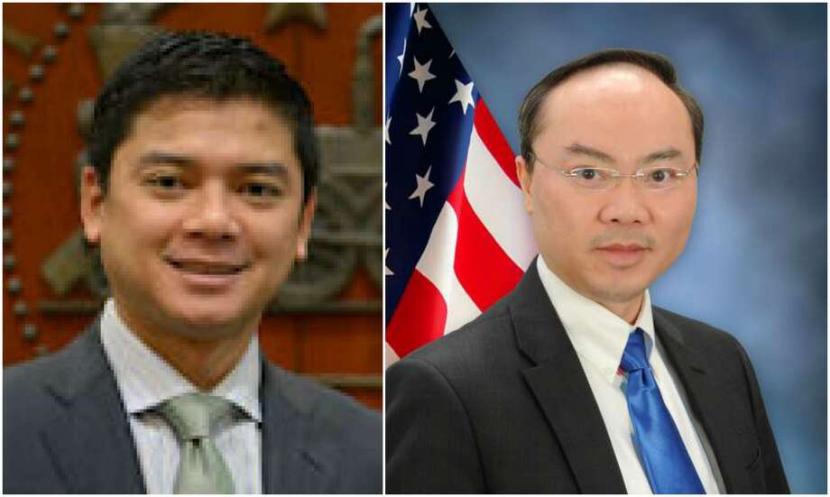 From left to right: HISD District VI candidate and District F chief of staff Daniel Albert and District F City Councilman Steve Le.