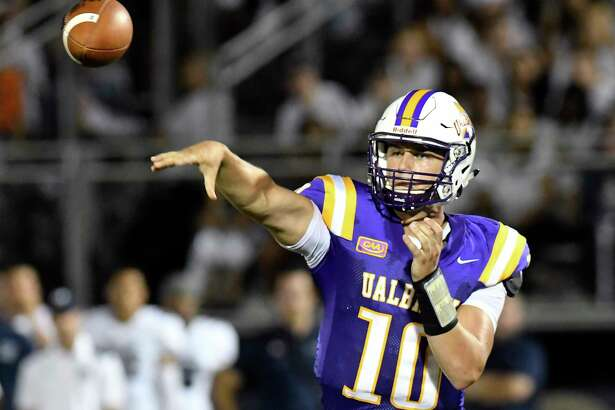 Albany Great Danes quarterback Neven Sussman (10) throws a pass against the Monmouth Hawks during the first half of an NCAA college football game on Saturday, Sept. 16, 2017, in Albany, N.Y. (Hans Pennink / Special to the Times Union) ORG XMIT: HP128