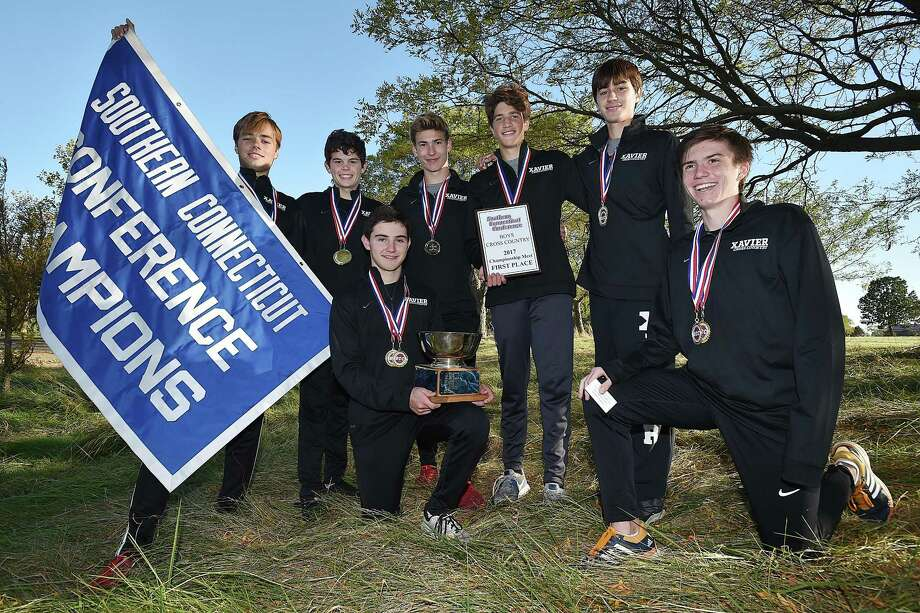 Xavier places first at the SCC cross country championship, Thursday, October 19, 2017, at East Shore Park in New Haven. Photo: Catherine Avalone / Hearst Connecticut Media / New Haven Register