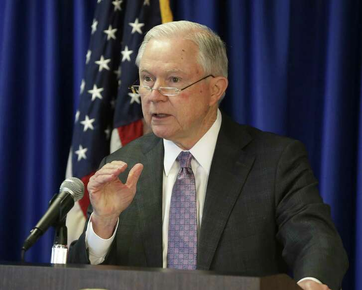 Attorney General Jeff Sessions talks before a group of law enforcement officials Friday at the U.S. Attorney's Office for the Western District of Texas in Austin. He praised Texas lawmakers and Gov. Greg Abbott for taking a tough stance against illegal immigration.