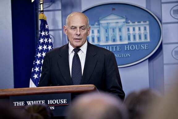 """John Kelly, White House chief of staff, speaks during a White House briefing in Washington, D.C., U.S., on Thursday, Oct. 19, 2017. U.S. President Donald Trump expressed his condolences in the best way he could, Kelly said, adding he was """"stunned"""" and """"brokenhearted"""" at Democratic Representative Frederica Wilson's criticism of the call between Trump and a killed military servicemembers family. Photographer: Andrew Harrer/Bloomberg"""