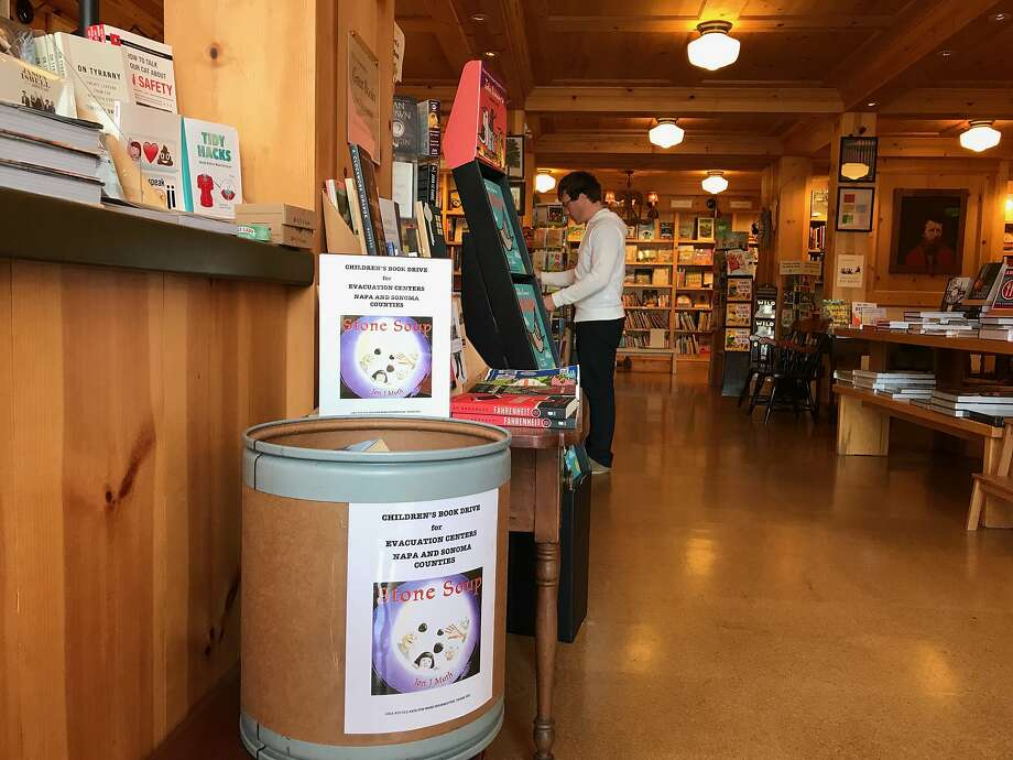 Children's books for wildfire victims are being collected at the front desk at Diesel, in Larkspur. Photo: Terry Sullivan