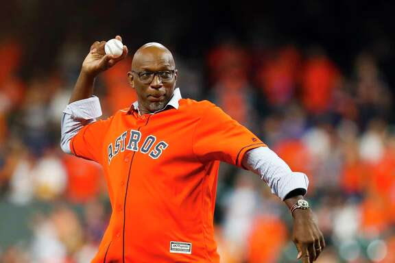 Clyde Drexler throws out the ceremonial first pitch before Game 6 of the ALCS at Minute Maid Park on Friday, Oct. 20, 2017, in Houston.