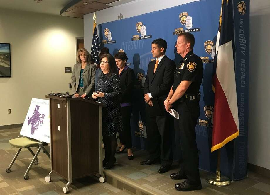 Officials unveil Friday a new report authored by the Texas Council on Family Violence. There were 11 women killed in domestic violence homicides last year in Bexar County, the report found. The county had one of the highest numbers of domestic violence homicides in the state. Photo: Courtesy Of Texas Council On Family Violence