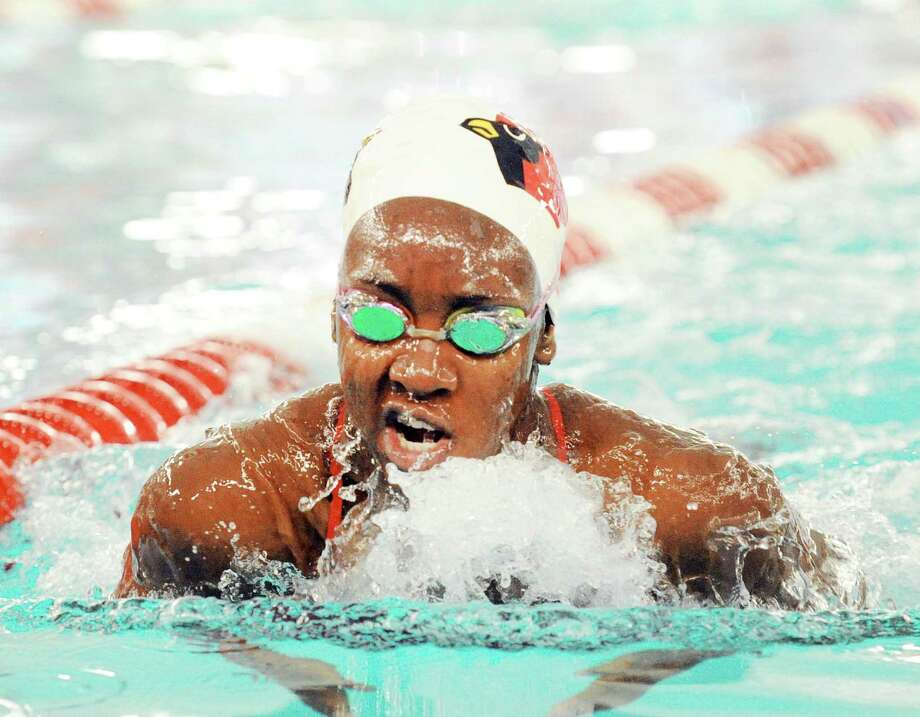 June Akpata of Greenwich swam the breast-stoke leg of the medley relay race during the girls high school swim meet between Greenwich High School and Staples High School at Greenwich, Conn., Friday, Oct. 20, 2017. Photo: Bob Luckey Jr. / Hearst Connecticut Media / Greenwich Time